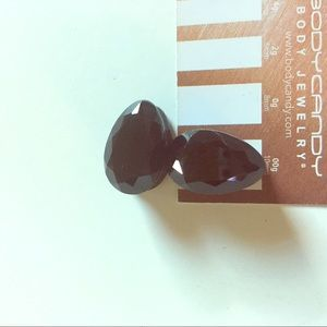 1/2 inch gauge black glass faceted teardrops